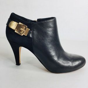 Vince Camuto leather and suede gold buckle booties